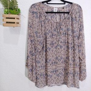 CAbi #5028 Siena semi sheer boho blouse size XL